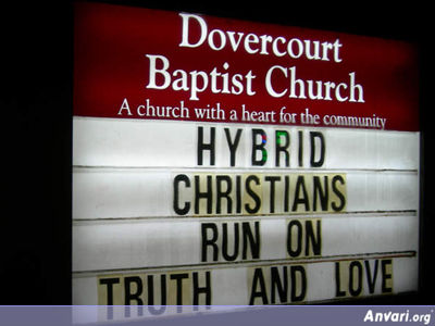 Hybrid Christians Run On Truth And Love - Funny Church Signs
