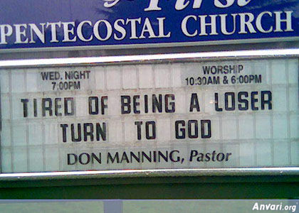Tire of Being a Loser - Funny Church Signs