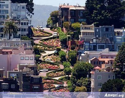 The Most Winding Road Lomboard Street San Francisco California - The Most Unusual Roads in the World