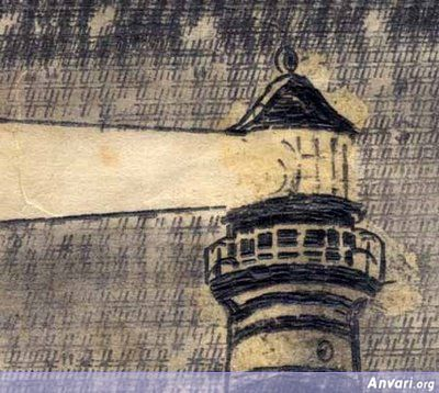 Detail Lighthouse On A Starry Night - Typewritter ASCII Art