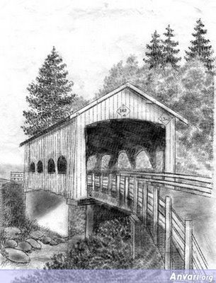 Rochester Covered Bridge Over Calapooia Creek - Typewritter ASCII Art