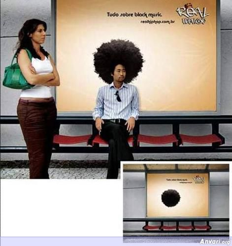 Outdoor Advertising Hair Block Music - Funny Billboard Ads