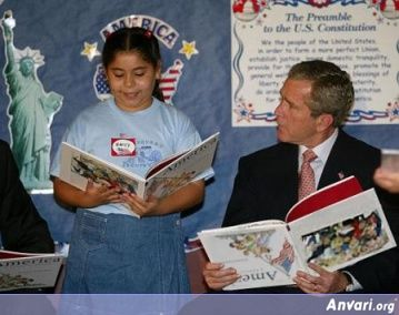Bush Reading Upside Down - Political